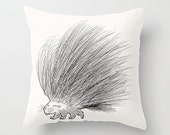 "The Porcupine - Throw Pillow / Cushion Cover (16"" x 16"") iOTA iLLUSTRATION"
