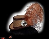 Steampunk Hat in Tan Scroll Pattern Victorian Riding Hat Mini Top Hat Ostrich Feather