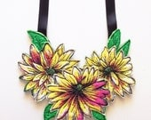 Floral neckpiece - thread drawn - flower necklace - ooak
