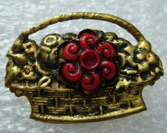 Vintage 1950's tin or copper flowers' basket pin brooch