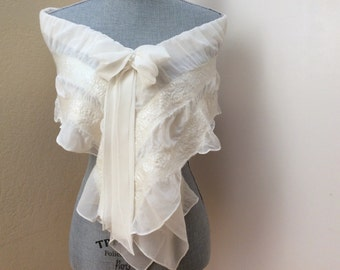 Wedding Dress Shawl Cover Up - Ivory Scarf Shawl - Bridal Shrug Bolero - Bridal Accessories - Weddings - Bow