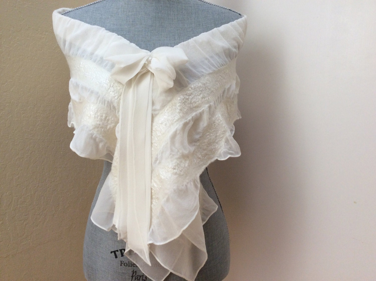 Wedding dress shawl cover up ivory scarf shawl bridal for Shawls for wedding dresses