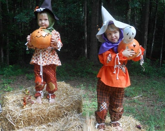 """C146  Ready To Ship in 1 Week    Adorable """"Berry""""  Scarecrow Halloween Costume  Child's 4"""