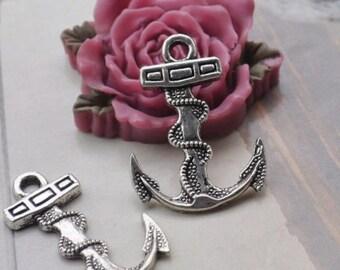 Anchor charms, 12pcs Antique Silver Anchor Pendants 24x32mm