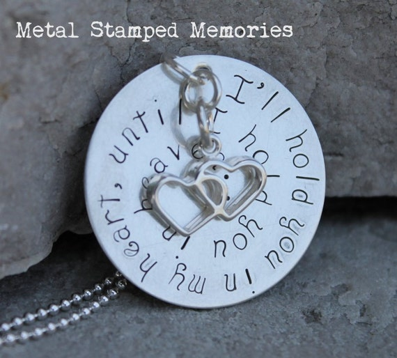 Baby Memorial Necklace I'LL HOLD YOU in My Heart, Mother's Remembrance Gift, Can Be Personalized with Name and Birthstone