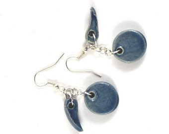 Ceramic Beaded Earrings Handmade Jewellery Blue Dangle Jewelry in Handmade Gift Pouch