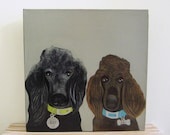pet portrait- duo- two pets- dog lover gift idea 8x8 or 12x12 custom pet portrait- dog painting -redtilestudio