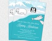 Arctic Animals Baby Shower Invitation, Polar Bear, Penguin, Whale, Icy, Ice, Printable DIY Digital File