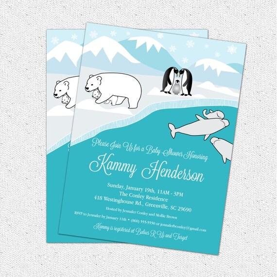 Arctic Animals Baby Shower Invitation Polar Bear Penguin