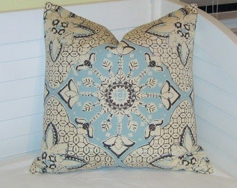 Quadrille China Seas New Batik Suncloth in Cloud Blue and  Brown on Tint Indoor Outdoor Designer Pillow Cover - Square and Euro Sizes