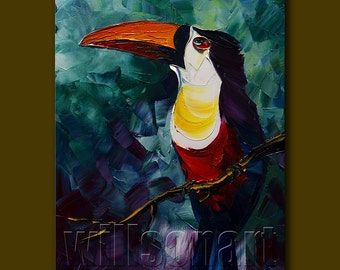 Modern Animal Painting Toucan Oil Painting Textured Palette Knife Contemporary Original Art 12X16 by Willson Lau