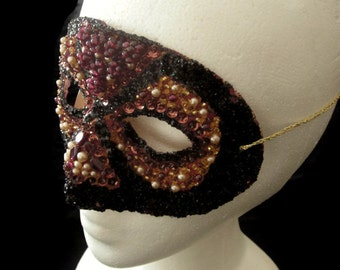 Blood Orange and Black Hand Beaded Masquerade Mask with Salvaged Vintage Genuine Garnet, Faux Pearl, and Glass Beads, Free US Shipping