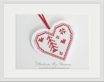 In-The-Hoop Heart Ornament with Tree - Machine Embroidery Design - Machine Cross Stitch Design - Winter Ornament - Heart Tree Ornament