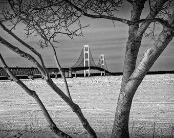 Mackinac Bridge in Winter at the Straits between Lake Michigan and Lake Huron by Mackinaw City No.680 A Black and White Landscape Photograph