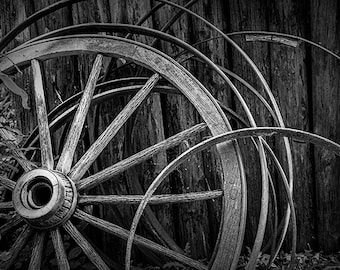 Wooden Wagon Wheels in Black & White at Fort Edmonton in Alberta Canada No.BW3951 A Pioneer Farm Landscape Photograph