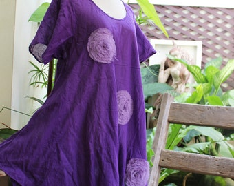 L-XXL Roomy A-Shape Tunic - Short Sleeves - Purple