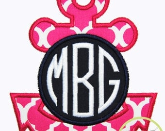"Anchor Monogram Applique Design For Machine Embroidery (""Natural Circle"" font is NOT included) INSTANT DOWNLOAD now available"