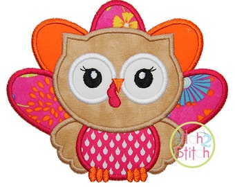 "Owl Turkey Applique, Shown with our ""Grandma's Garden"" Font NOT Included, Hoop Size(s) 4x4, 5x7 and 6x10 INSTANT DOWNLOAD now available"