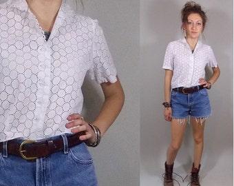 Vintage 1950s Lace Top / 50s White Shirt