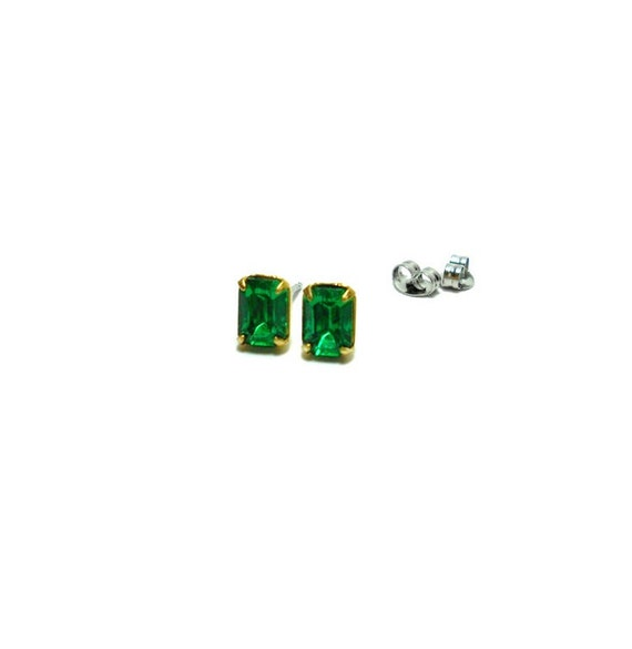 Old Hollywood Vintage Emerald Glass Jewels Studs - Estate Jewelry - Emerald Studs - Petite Studs - LAST PAIR
