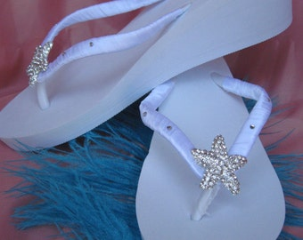 SALE - White Flip Flops or Ivory Flip Flops Sandals with Rhinestone Starfish for the Bride and her Bridesmaids