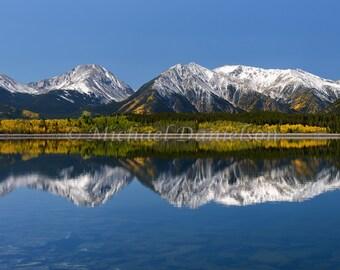 Autumn Mountain Reflection in Colorado Photograph Print 8x10