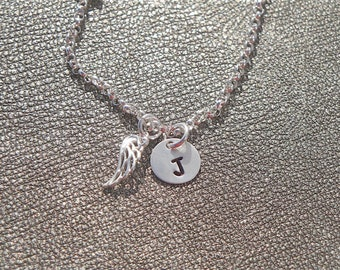 Personalized Guardian Angel Necklace - Hand Stamped Sterling Silver - Gifts for Her