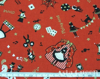 "Alice's Magical World - red - 1 yard - cotton linen - Alice in Wonderland - fabric, Check out with code ""5YEAR"" to save 20% off"