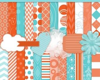 Digital Paper Turquoise and Orange Pattern Paper - CU Ok - Goldfish