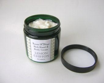 Lemon Chiffon Body Cream, Body Butter with Hemp and Mango Butter
