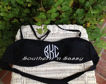 Medium Black  Monogrammed Bandeau Swimtop