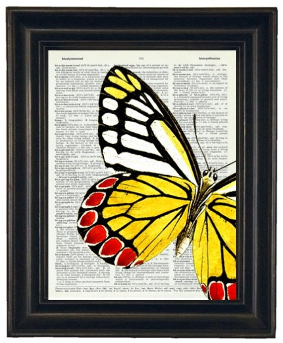 BOGO SALE Butterfly Dictionary Art Print Book Page Upcycle Wall Art 8 x 10 Black Pink Yellow
