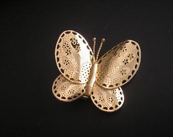 Vintage Golden Filigree Butterfly Brooch, Pin