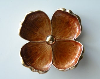On Sale Kramer enamel flower brooch, pin. Gold tone metal.