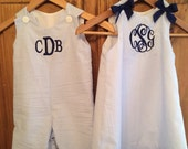 Brother and sister dress and longall set by Gigi Babies