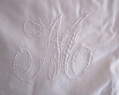 Vintage French handmade monogram M embroidered boudoir pillowcase glass buttons