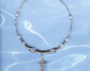 Healing Cat Collar Pet Collar Handcrafted Gems/Silver  FC-002