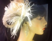Feather Bridal Fascinator, Feather Fascinator, Bridal Fascinator, Silk Tulle Wedding Veil, Fascinator, Ivory/Champagne/Grey - Fancy Peacock