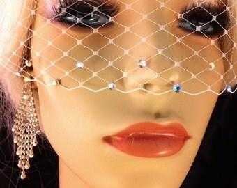 "Birdcage Veil, 5""x 15"" Birdcage Bandeau Veil with Swarovski Crystal Rhinestone Edge, Bridal Veil, Ivory, White, Champagne or Black"