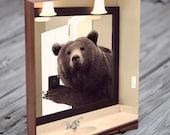 Bear Selfie - Animal Selfie - Bear Art - Selfie - Wood Block Art Print