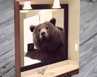 Bear Selfie - Animal Selfie - Bear Art - Selfie - Wood Block Art Print