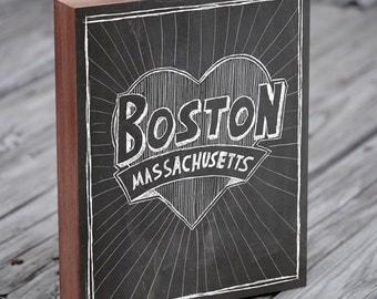 Boston Art - Chalkboard Art - Boston City State Art - Wood Block Wall Art Print - Boston Art Print