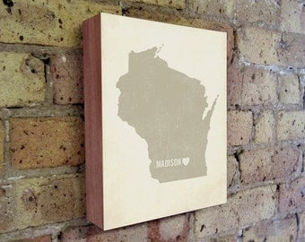 Madison Art Print - Wisconsin Art - Madison Art - Madison Wisconsin - I Love Madison- Wood Block Art Print