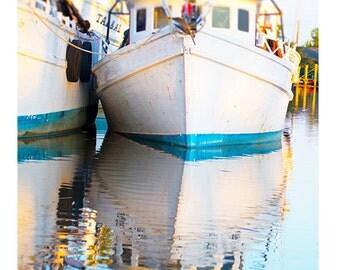 Art, Photography, Nautical, Water, Reflection, Savannah, Georgia, Boat, Colorful Art, Wall Art, Cottage Home Decor