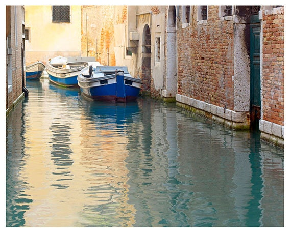 Fine Art Photography, Travel Photography, Venice, Italy, Canal, Water, Blue, Yellow, 8x10 print