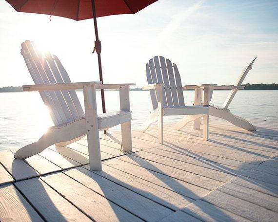 Coastal Home Decor-Photography- Fine Art Print-Day At The Lake-Blue-White-Sunshine