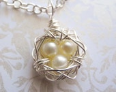 Three Eggs in a Petite Nest, Light Buttercup Yellow Freshwater Cultured Pearls Wire Wrapped Nest Pendant on Chain