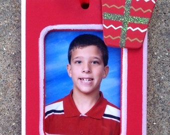 Personalized Photo Ornament with Red Present