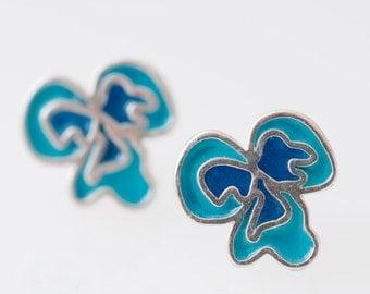 Sterling Silver Resin Resinate Flor Stud Earrings-Blues