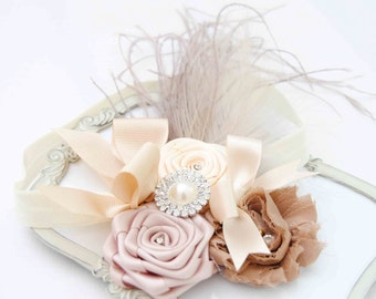 Couture Chic Beige Headband with Beautiful Roses on Elastic Headband Baby Girls Headband